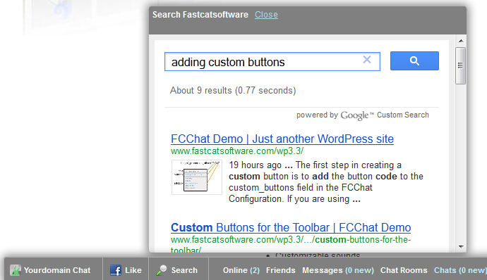 Custom search dialog